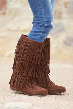 California To Carolina Fringe Boots - Chocolate from Closet Candy Boutique