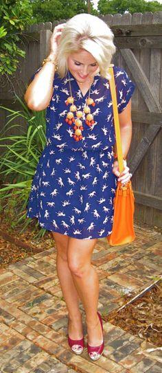 """Animal Print"" Dress, and Orange Accessories"