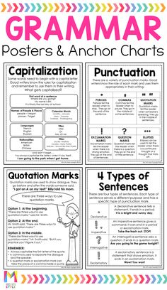 Best 12 My grade students always struggled with our grammar lessons. These grammar anchor charts totally helped them remember important grammar rules. The student friendly charts fit perfectly in their interactive notebooks so they could refer back to English Grammar Rules, Basic Grammar, Teaching English Grammar, English Grammar Worksheets, Grammar And Punctuation, English Writing Skills, Grammar Lessons, English Language Learning, English Lessons