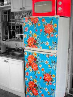 sticky back plastic-ed fridge!