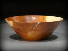Large Apple wood bowl with mineral inlay, by New England woodturner Ray Asselin. At Bowlwood.com.