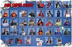 A SUPERHERO theme is Fun for a school yearbook! Our teachers really got into cha… A SUPERHERO theme is Fun for a school yearbook! Our teachers really got into character and the students Loved it! Lifetouch Yearbook, Comic Book Yearbook, Elementary Yearbook Ideas, Teaching Yearbook, Yearbook Pages, Yearbook Spreads, Yearbook Covers, Yearbook Layouts, Yearbook Photos