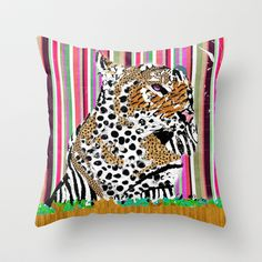 The Tiger and his Technicolor Dreamcoat on Canvas by D. Porter Throw Pillow by eclectiquexx - $20.00