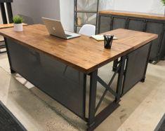 The Industrial Carruca Office Desk Large by IronAgeOffice on Etsy