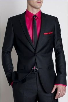 This Bold Color Button Down Goes From Suit to Jeans, men's fashion black suit with fuchsia pink button down shirt and black with fuchsia lined tie | Divine Style