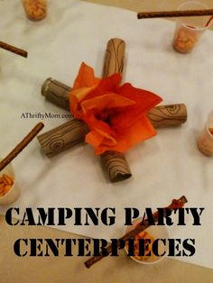 campfire centerpieces, camping party decorations, #campingparty, #blueandgoldbanquet, #thriftypartydecorations, #campfire, #centerpieces, #partydecorations, #thriftyparty