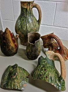 Medieval Spitalfields: This group of ceramic medieval jugs was found in a well serving the hospital of St Mary Spital.