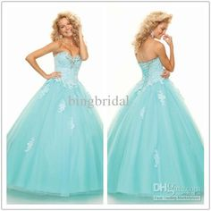 Wholesale Prom Dresses - Buy Beautiful 2013 Aqua Prom Dresses Sweetheart Lace Applique Ruched Tulle Lace-up Ball Gown, $104.47 | DHgate