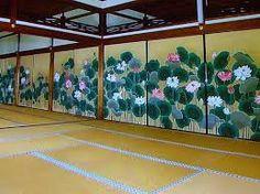 襖絵. Flowers fusuma in situation. Japan