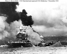 The USS Maryland and capsized USS Oklahoma, December 7th, 1941- The Oklahoma was my Dad's ship. He was not on her that day but lost many friends. He never forgot them.