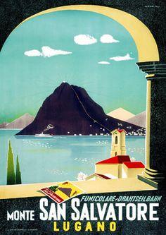 Funicular San Salvatore Lugano Lake - Switzerland Vintage Travel Poster www. Vintage Italian Posters, Vintage Films, Art Vintage, Vintage Travel Posters, Poster Retro, Poster S, Poster Prints, Poster Ideas, Tourism Poster