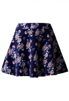 Floral Skater Skirt in Navy