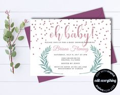 Pink Baby Girl Shower Invitation Template - Girl Baby Shower Template - Instant Download Baby Shower Invite - Editable Baby Shower by MintedMemories on Etsy