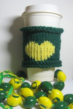 Love a Latte Oregon Duck Green and Yellow Heart by HideaHeart, $18.95