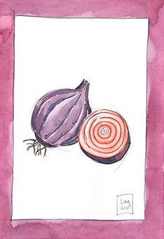 illustrazione acquerello cipolla viola, ricette illustrate per la tua cucina! #illustrazioni #acquerello #arredamentocucina #postercucina #poster #cucina #quadricucina #cipolla #ricette #cipolladitropea #labliu