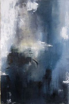Contemporary Abstract Painting, blue, yellow, white, gray - photo