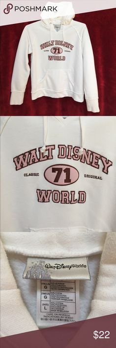Walt Disney World White Sweatshirt with Hood Size large. 60% cotton and 40% polyester. Drawstring in front. Hoodie. Pockets in the front as well. Disney Shirts & Tops Sweatshirts & Hoodies