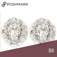 Silver Lion Studs Post Back   - Drop: 20mm   - Design: Lions Head  - Lead & Nickel Compliant  - All of my jewelry is held to high standards in terms of quality and style. Every item received is carefully inspected for color or stone issues and only uploaded to site once quality has passed. Libi & Lola Jewelry Earrings