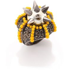 Gucci Beaded Spiked Faux Pearl Cocktail Ring (1,210 BAM) ❤ liked on Polyvore featuring jewelry, rings, apparel & accessories, yellow, drusy ring, gucci, beaded rings, spikes jewelry and yellow jewelry