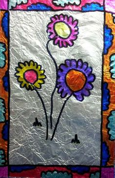 Dream Painters (Aug 2012): Faux Stained Glass. Emily H (Year 3). Permanent markers on acetate with foil background.