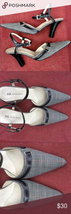 Anne Klein 6 professional heels ankle strap Anne Klein professional heels pumps. Adjustable ankle strap, subtle plaid fabric on pointy toes. Size 6 or 6M. Excellent condition. Normal wear on the bottom leather soles, but very little wear on the inner sole or outer parts. Anne Klein Shoes Heels