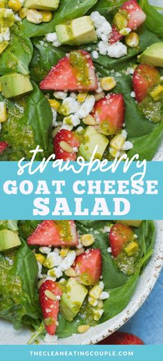 This Strawberry Avocado Goat Cheese Salad is the perfect Summer salad! Packed with fruit cheese and veggies - it's delicious and easy to put together! Easy Clean Eating Recipes, Clean Eating Salads, Easy Salads, Healthy Salad Recipes, Real Food Recipes, Detox Recipes, Summer Salads, Lunch Recipes, Summer Recipes