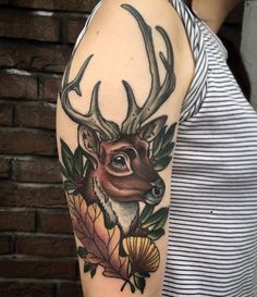 deer tattoo deertattoo neo traditional flower autumn leaf autumnleaf neotraditional elisabetha elisabethattattoo