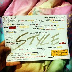 Style by Taylor Swift lyrics, hand drawn by http://allaroundtaylor.tumblr.com/.