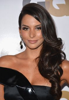 Love the deep side part! And beautiful curls. One of my favorite formal styles for long hair.