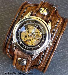 Men's Leather Cuff Steampunk Leather Watch by CuckooNestArtStudio, $139.00