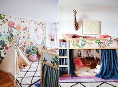 Inspiration décoration Chambre d'enfant.  La bohème, avec beaucoup de couleurs. Un beau tapis berbère blanc et noir, et des coussins à motifs ethniques pour le coin lecture sous le lit.