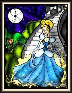 Cinderella stained glass, by Mandie Michel Deco Disney, Cinderella Disney, Arte Disney, Disney Dream, Disney Style, Disney Love, Disney Magic, Disney Art, Disney Pixar
