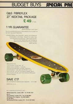 G&S Fibreflex package Alpine Sports ad This was my board and i did buy it from Alpine Sports. I absolutley loved skateboarding. As well as trying out tricks, it was another way of getting from one place to another. Old School Skateboards, Vintage Skateboards, Skate And Destroy, Thing 1, Skateboard Design, Deck Design, Best Memories, Surfboard, Longboards