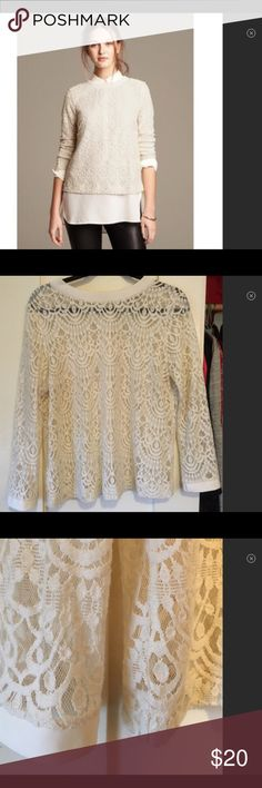 Banana Republic Ivory Lace Button Back Top w/Shirt Ready-made outfit for you! Stunning Banana Republic lace top with button back and satin collared shirt to wear underneath. Note: BR top size L is missing a few buttons along the bottom of the back and will need to be replaced. Satin blouse size M (brand is George) is 100% polyester and has a pull in front as pictured - not visible though the lace top. Price is reflective of defects. Banana Republic Tops