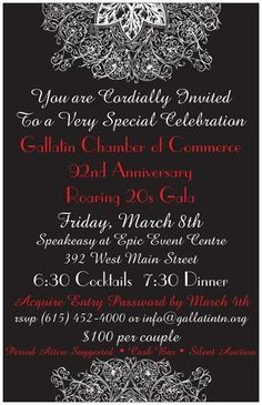 Gallatin Chamber of Commerce 92nd Anniversary Roaring 20s Gala - March 8th, 2013
