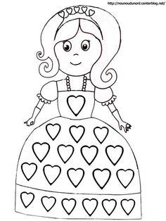 """jeu princesses : fiches """"commande"""" (3 coeurs rose, 2 coeurs jaune, 1 coeur vert, ...) à respecter pour décorer la robe de sa princesse avec des """"strass"""" à scratcher sur l'image"""