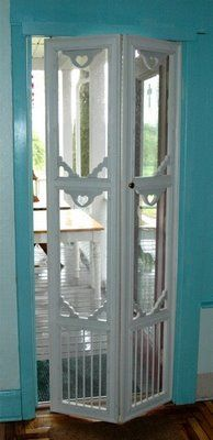Turn an old screen door into a bi-fold door. So much easier to use going in and out of a porch or sun room