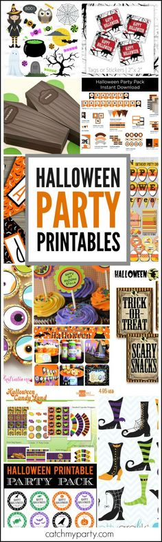Halloween Party Printables roundup -- everything you need for throwing an awesome Halloween party! | CatchMyParty.com