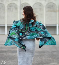 Teal chunky textured scarf. Handpainted nuno by SeamlessFashion, $169.00