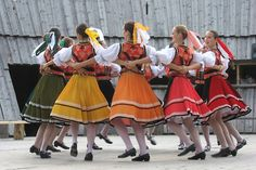Dancers of folklore ensemble Karpaty wearing traditional clothes from eastern Slovakia. Folk Costume, Costumes, Shall We Dance, Dance The Night Away, Ancient Art, Traditional Outfits, Kids Wear, Cheer Skirts, Dancers
