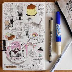 2017-12-30の絵日記。大掃除といっても、水周りを少しだけ。食べてばっかり… やることないと絵日記がしがし描けるわー(╹◡╹)今年中に大晦日分を描けるだろうか? #moleskinejp #moleskine #RYOskine #モレスキン #MoleskineSketchbook #KAORItoJAPAN2017WINTER