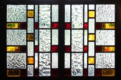 Amber and Red Stained Glass, Art Deco, collaboration between Warret & Jullion and Florence Bonazzi