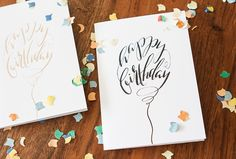Looking for for inspiration for happy birthday funny?Browse around this website for perfect happy birthday ideas.May the this special day bring you happy memories. Calligraphy Birthday Card, Happy Birthday Hand Lettering, Calligraphy Cards, Birthday Card Drawing, Karten Diy, Birthday Letters, Happy Birthday Balloons, Bday Cards, Paper Cards