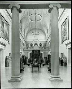 This view facing north showing Medieval sculpture and decorative arts in the Western European Arts Galleries was photographed in 1933.