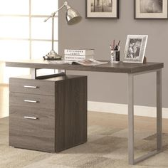 Modern Design Home Office Weathered Writing/ Computer Desk with Drawers and File Cabinet