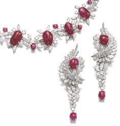 Ruby and diamond demi-parure, René Sim Lacaze - detail - Sotheby's.