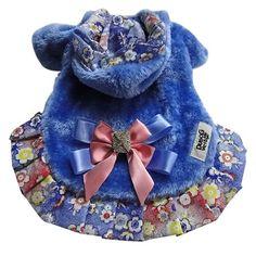 Casaco Forrado Dupla Face Pele Azul e Floral Dudog Vest - MeuAmigoPet.com.br #petshop #cachorro #cão #meuamigopet