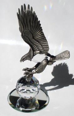 Crystal Eagle Made with Swarovski Crystal and Genuine Pewter - Pewter Eagle Figurine