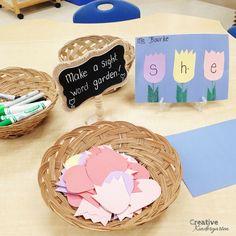 make a sight word garden with this fun activity. Perfect spring kindergarten literacy center idea.
