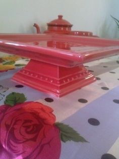 Square Red Ceramic Cake Stand for bright celebrations Weddings Anniversaries Birthdays Bridal showers and lovely home decor
